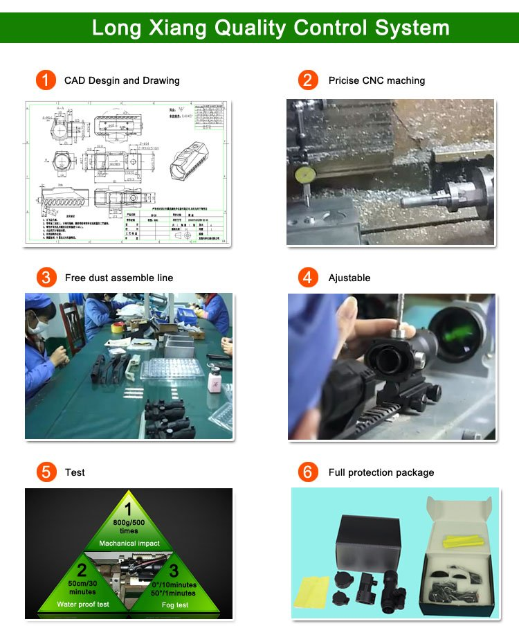 Long Xiang Optics-Open Red Dot Sight | Hunting 1x32 Scopes Sight Optics Real Fiber R Or G-6